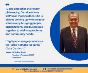 Bob Buchser, Santa Clara teacher and Principal, MCCF Awardee endorses Harbir Bhatia for Santa Clara City Council, District 1