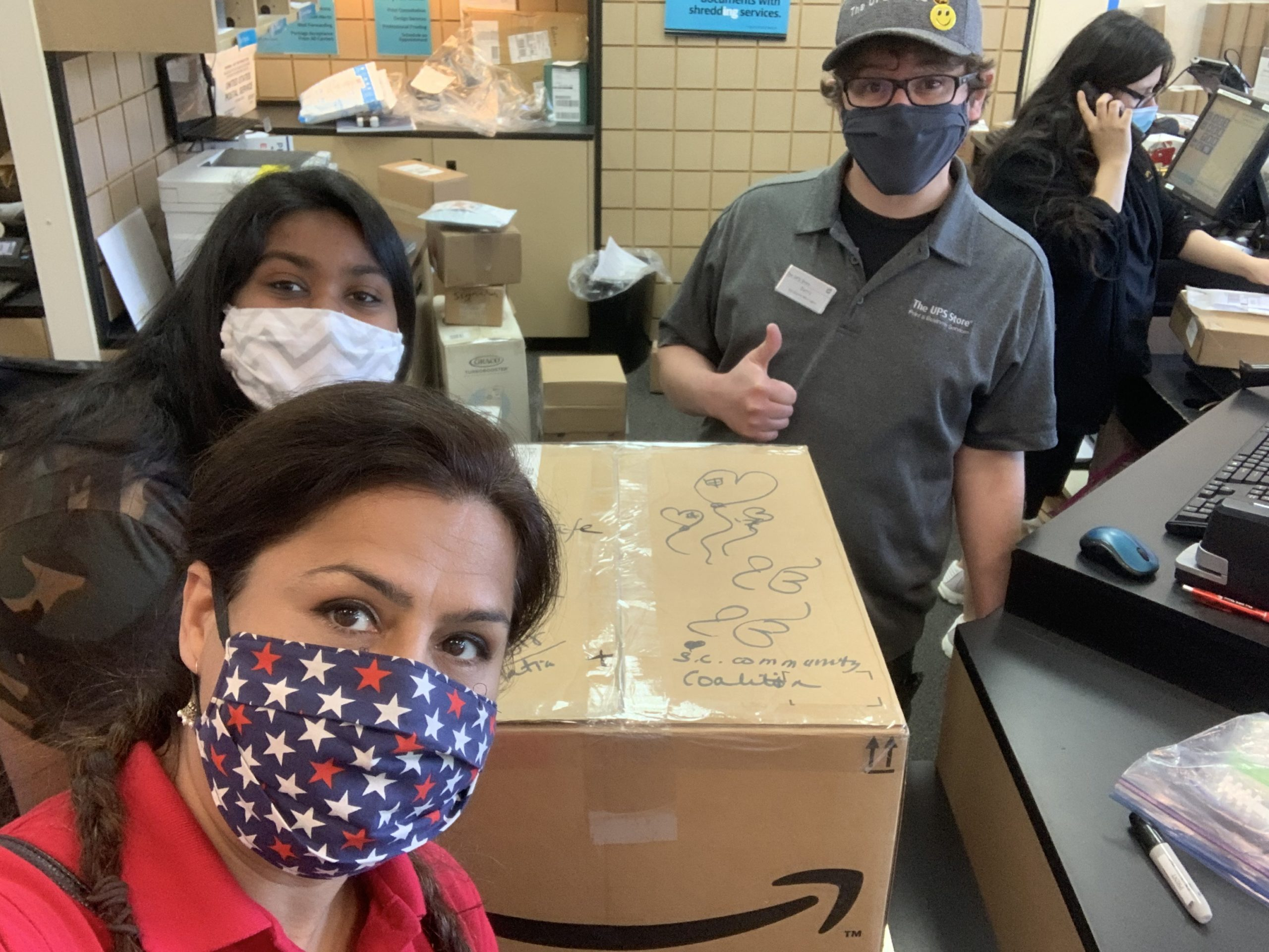 Harbir sending masks across the country for Santa Clara Community Coalition for COVID relief